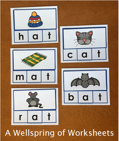 CVC Word Clip Cards - Consonant Vowel Consonant Words without a Picture