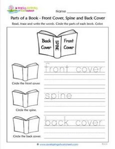Parts of a Book - Front Cover, Spine and Back Cover - Trace and Write