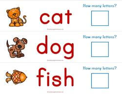 Print Awareness - How Many Letters - Animals Strips