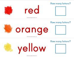 Print Awareness - How Many Letters - Colors Strips