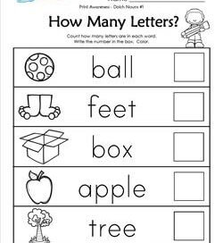 Print Awareness - How many Letters - Dolch Nouns - 1