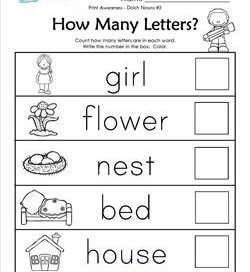 Print Awareness - How many Letters - Dolch Nouns - 3