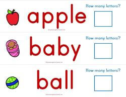 Print Awareness - How Many Letters - Dolch Nouns Strips