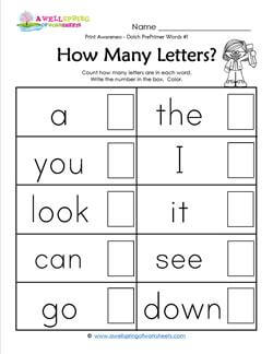 Print Awareness - How many Letters - Dolch Words - 1