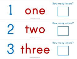 Print Awareness - How Many Letters - Numbers Strips