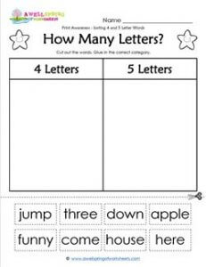 Print Awareness - How Many Letters? Sorting 4 & 5 Letter Words