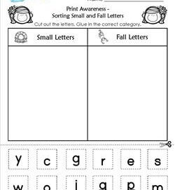 Print Awareness - Sort Small and Fall Letters
