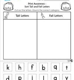 Print Awareness - Sort Tall and Fall Letters