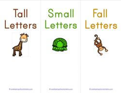 Print Awareness - Tall, Small and Fall Letters - Sorting Strips