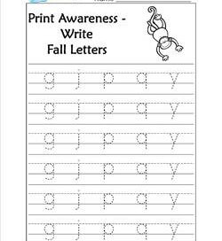 Print Awareness - Write Fall Letters