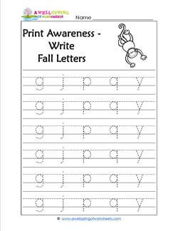 Print Awareness - Write Fall Letters