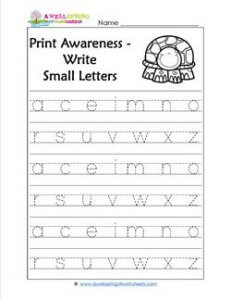 Print Awareness - Write Small Letters