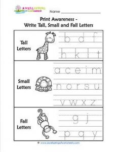 Print Awareness - Write Tall, Small and Fall Letters