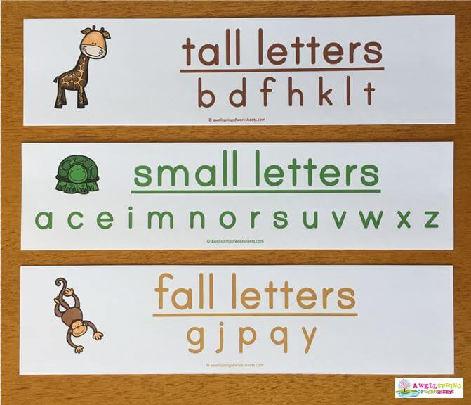 Tall, Small and Fall Letters Lists