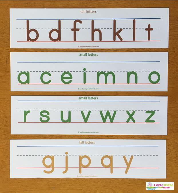Tall, Small and Fall Letters on Primary Writing Lines