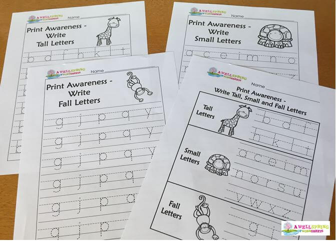 Tall, Small and Fall Letters Writing Worksheets