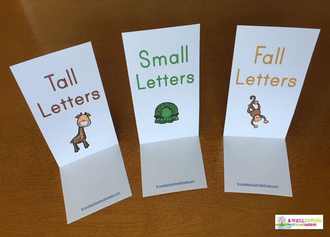 Tall, Small and Fall Letters - Sorting Strips Folded