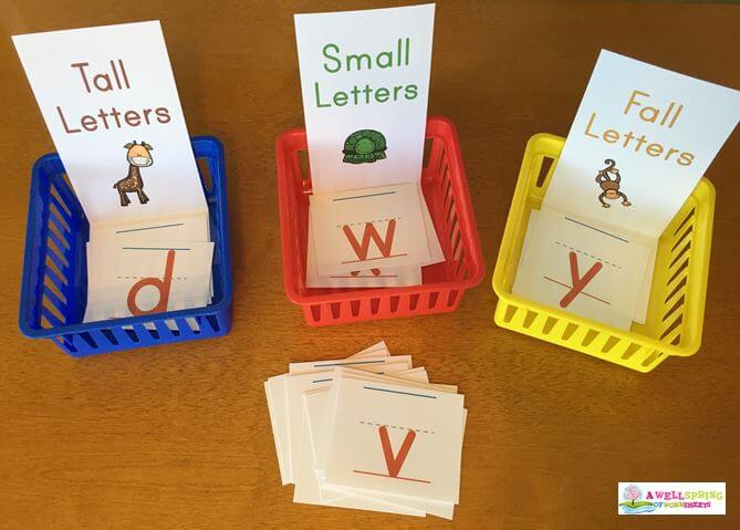 Tall, Small and Fall Letters - Sorting Strips with Orange Letters