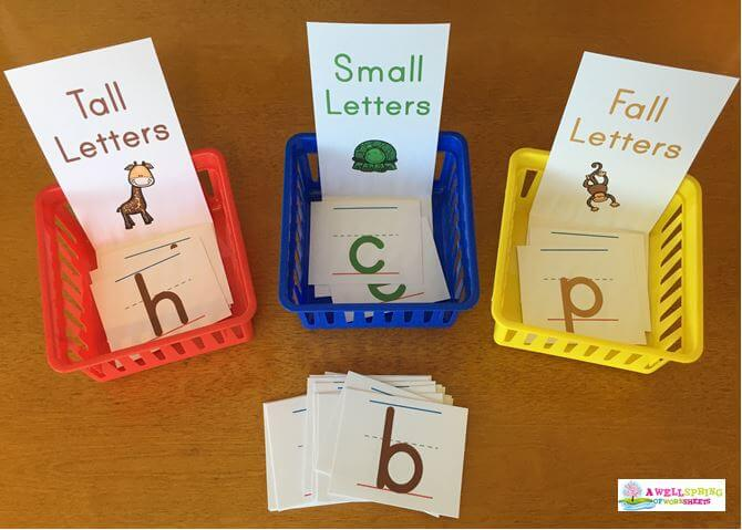Tall, Small and Fall Letters - Sorting Strips with Color-Coded Letters