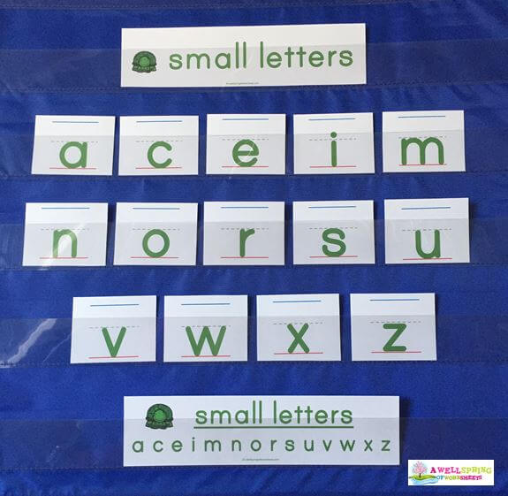 Small Letters in a Pocket Chart