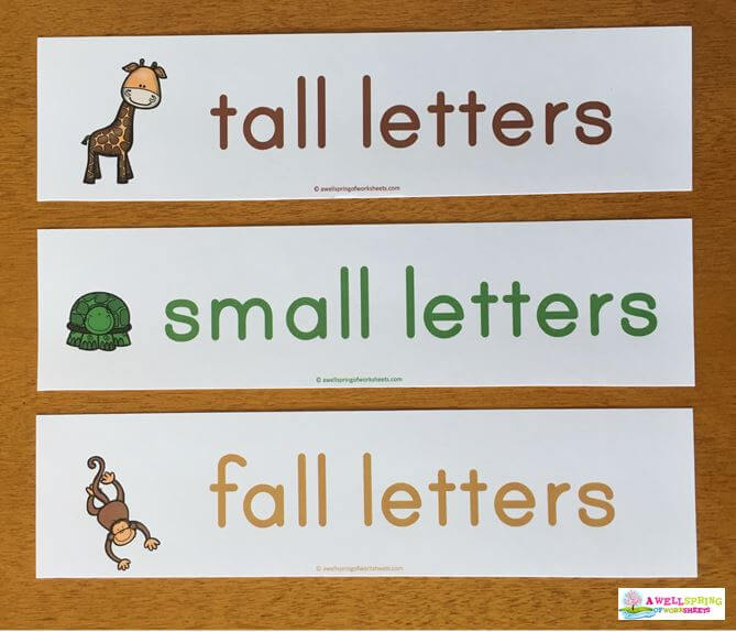 Tall, Small and Fall Letters Title Pocket Chart Cards
