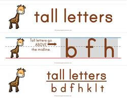 Print Awareness - Pocket Chart Cards - Tall Letters