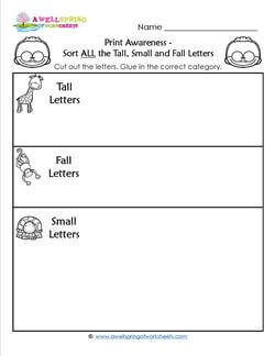 print awareness sort tall small fall letters all