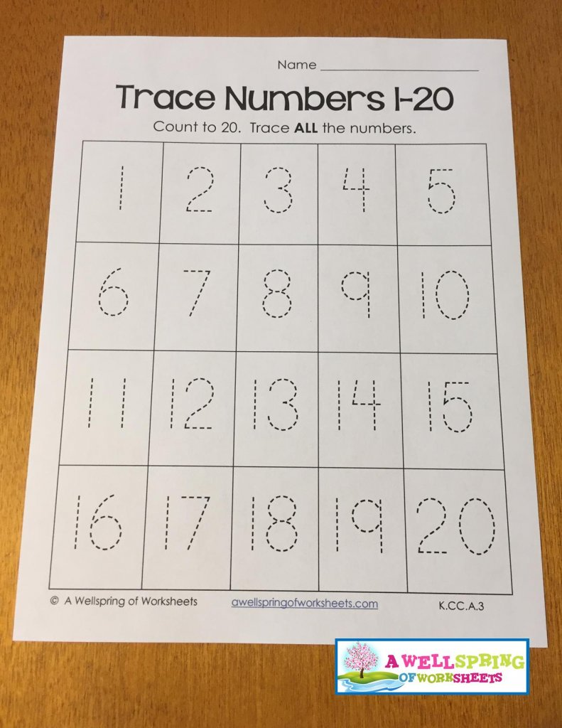Monster image in free printable tracing numbers 1-20 worksheets