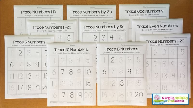 Trace Numbers 1-20 Worksheets