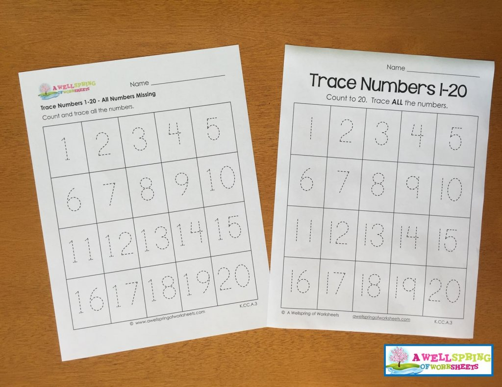 Tracing Numbers 1-20 Worksheets Blog Post | A Wellspring of Worksheets
