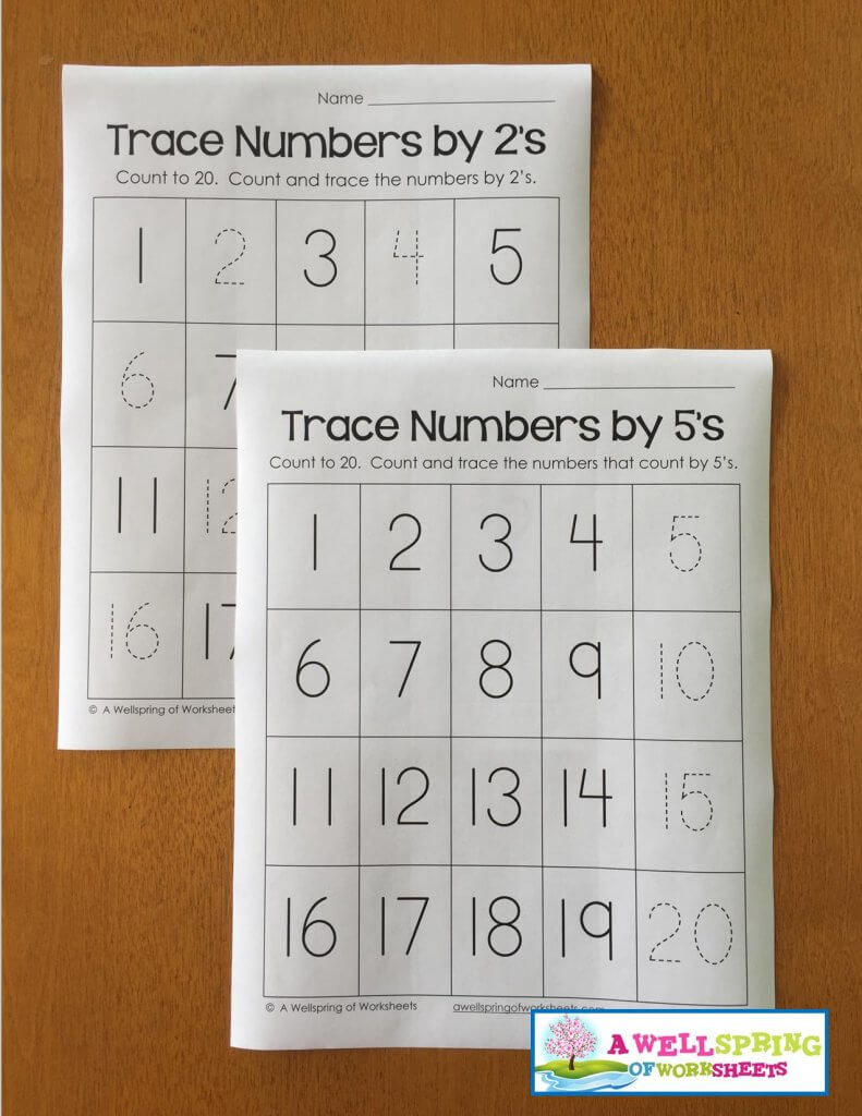 trace numbers 1-20 - by 2s by 5s
