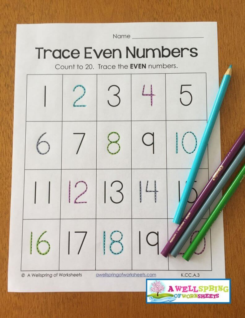 trace numbers 1-20 - color pencil pattern