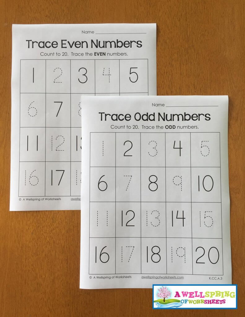 trace numbers 1-20 - even odd
