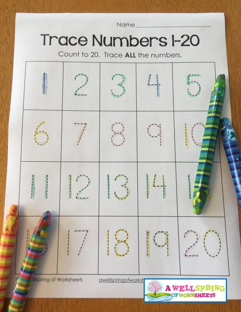 trace numbers 1-20 - fun crayons