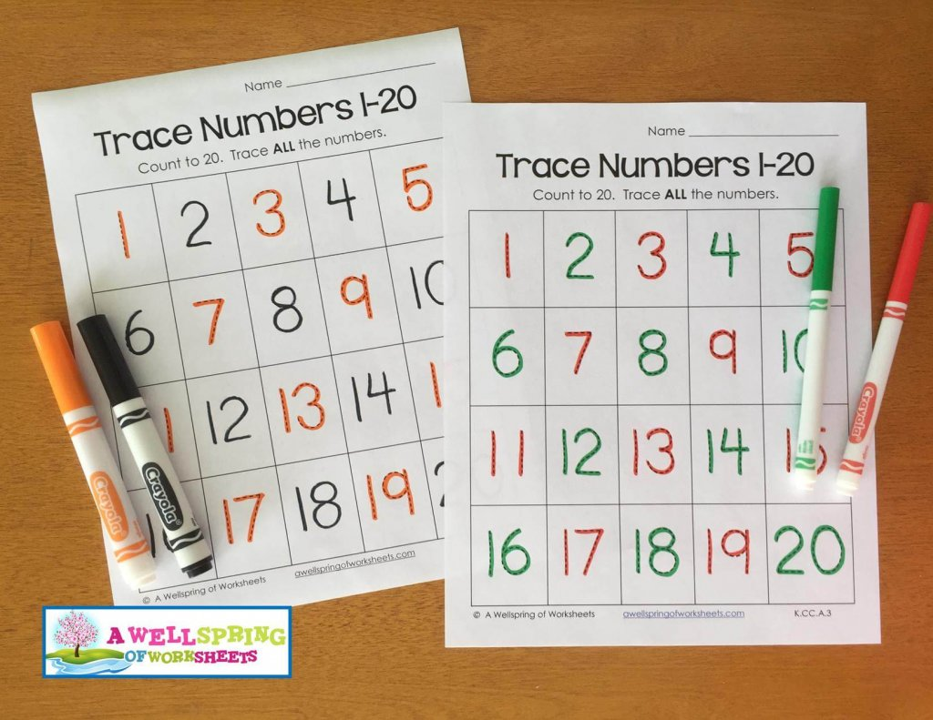 trace numbers 1-20 - holiday colors patterns