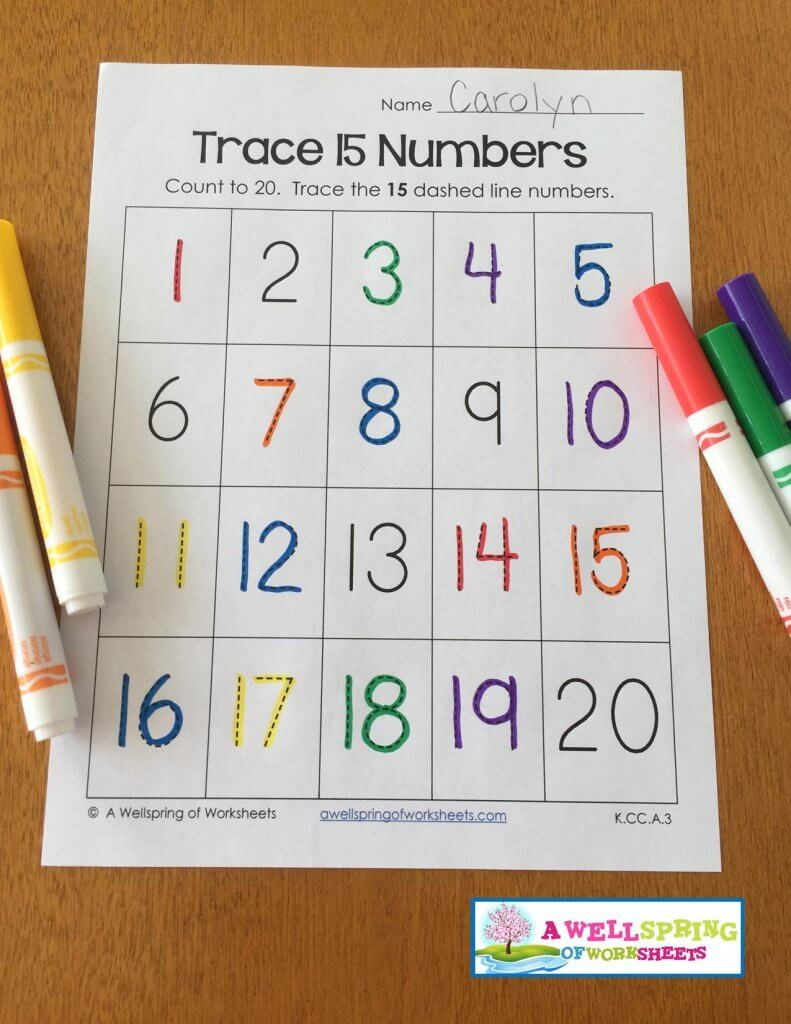 trace numbers 1-20 - markers