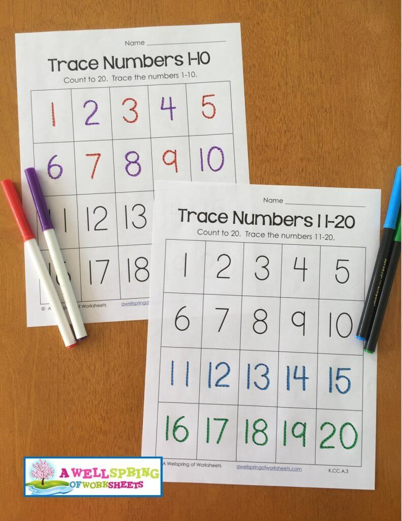 Workbooks trace numbers worksheets : Tracing Numbers 1-20 Worksheets Blog Post | A Wellspring of Worksheets