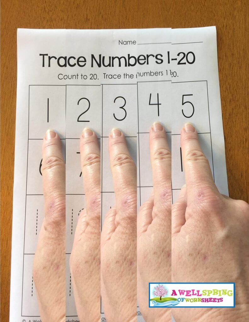 trace numbers 1-20 - point say count