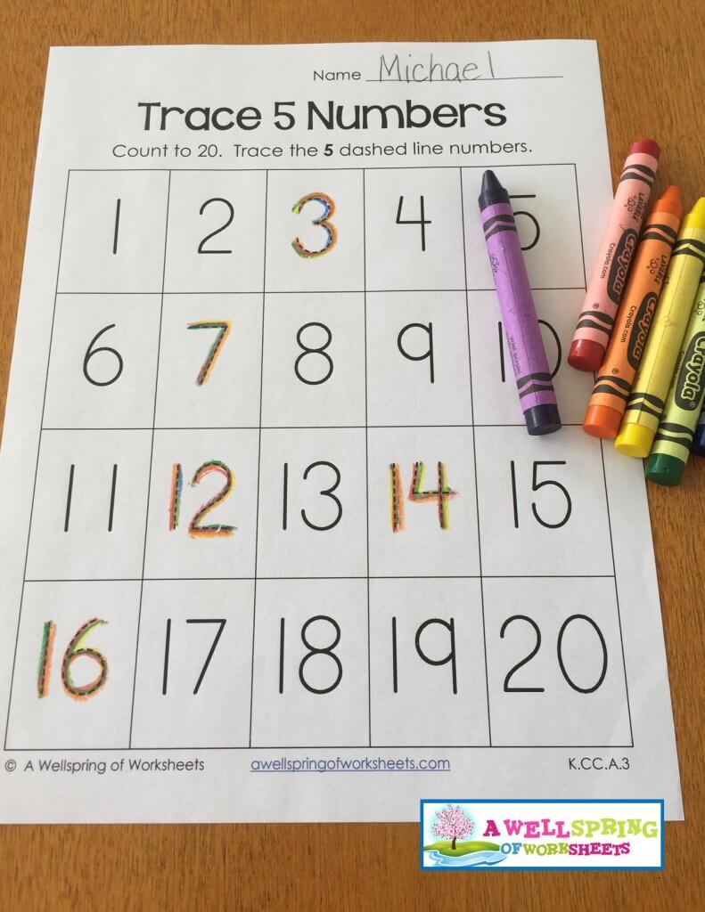 trace numbers 1-20 - rainbow colors