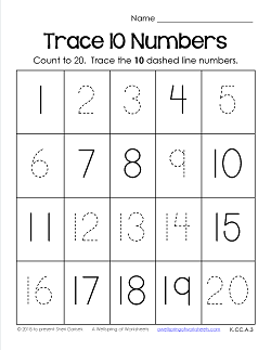 Trace Numbers 1-20 Worksheets - Trace 10 Numbers