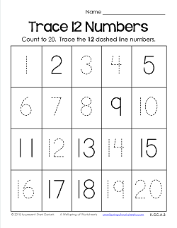 Trace Numbers 1-20 Worksheets - Trace 12 Numbers