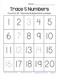 Trace Numbers 1-20 Worksheets - Trace 5 Numbers