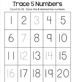 Trace Numbers 1-20 - Kindergarten Number Worksheets