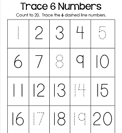 Trace Numbers 1-20 Worksheets - Trace 6 Numbers
