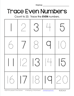 Trace Numbers 1-20 Worksheets - Trace the Even Numbers