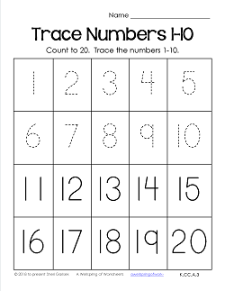 Trace Numbers 1-20 Worksheets - Trace the Numbers 1-10