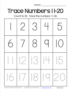 Trace Numbers 1-20 Worksheets - Trace Numbers 11-20