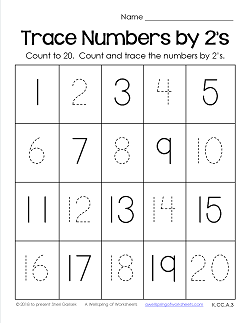 Trace Numbers 1-20 Worksheets - Trace the Numbers by 2s