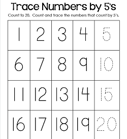 Trace Numbers 1-20 Worksheets - Trace the Numbers by 5s