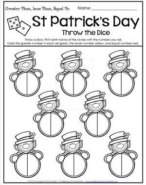 St Patrick's Day Worksheets - Comparing Numbers - Throw the Dice